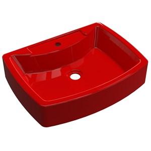 Cuba Pia De Apoio Para Banheiro  Retangular Aria RT50 Vermelho C08 - Mpozenato