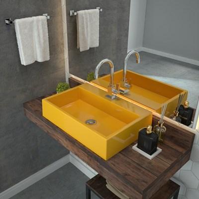 Cuba Pia De Apoio Para Banheiro  Retangular Florenza RT55 Amarelo C08 - Mpozenato