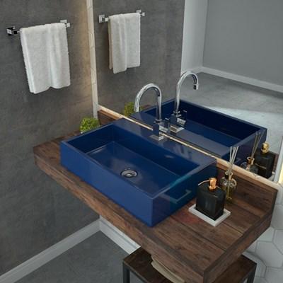 Cuba Pia De Apoio Para Banheiro  Retangular Florenza RT55 Azul Escuro C08 - Mpozenato