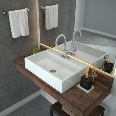 Cuba Pia De Apoio Para Banheiro  Retangular Florenza RT55 Branco C08 - Mpozenato