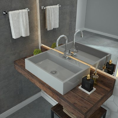 Cuba Pia De Apoio Para Banheiro  Retangular Florenza RT55 Cinza C08 - Mpozenato