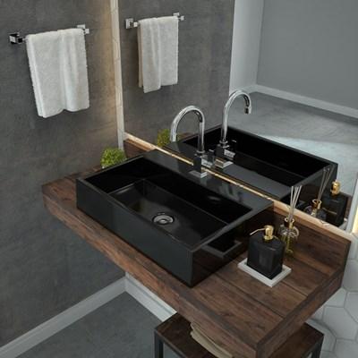 Cuba Pia De Apoio Para Banheiro  Retangular Florenza RT55 Preto C08 - Mpozenato