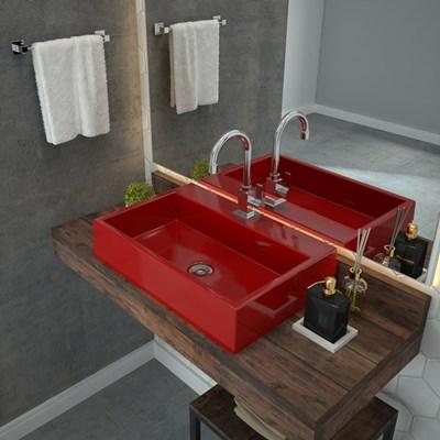 Cuba Pia De Apoio Para Banheiro  Retangular Florenza RT55 Vermelho C08 - Mpozenato