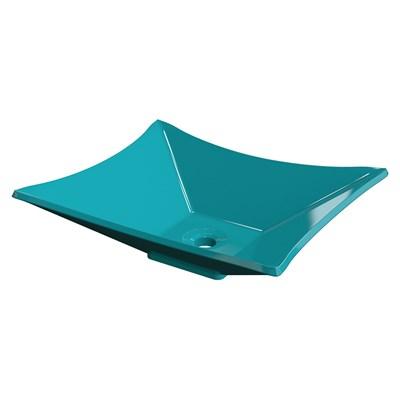 Cuba Pia de Apoio para Banheiro Retangular Luxo 38 C08 Azul Turquesa - Mpozenato