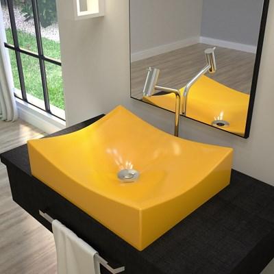 Cuba Pia de Apoio para Banheiro Retangular Milla ML44W C08 Amarelo - Mpozenato