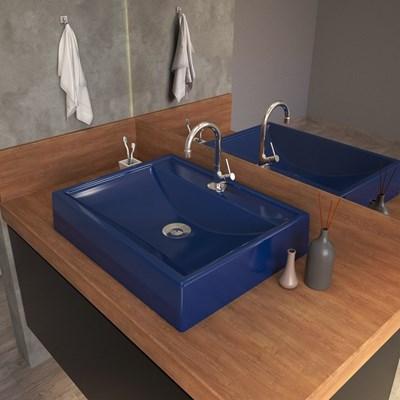Cuba Pia de Apoio para Banheiro Retangular RT49 C08 Azul Escuro - Mpozenato