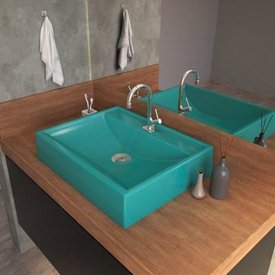 Cuba Pia de Apoio para Banheiro Retangular RT49 C08 Azul Turquesa - Mpozenato
