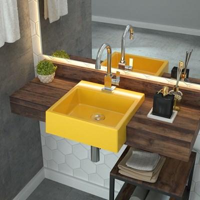 Cuba Pia Semi Encaixe para Banheiro Quadrada Kuad 355 C08 Amarelo - Mpozenato