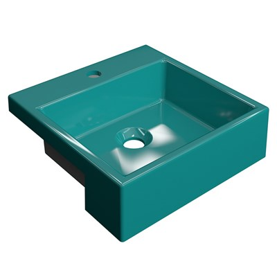 Cuba Pia Semi Encaixe para Banheiro Quadrada Kuad 355 C08 Azul Turquesa - Mpozenato