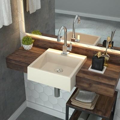 Cuba Pia Semi Encaixe para Banheiro Quadrada Kuad 355 C08 Bege - Mpozenato