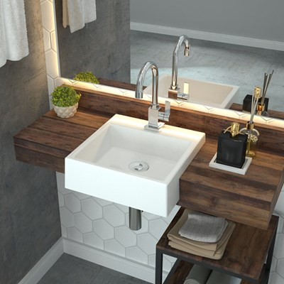 Cuba Pia Semi Encaixe para Banheiro Quadrada Kuad 355 C08 Branco - Mpozenato