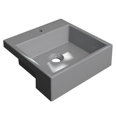 Cuba Pia Semi Encaixe para Banheiro Quadrada Kuad 355 C08 Cinza - Mpozenato