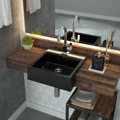 Cuba Pia Semi Encaixe para Banheiro Quadrada Kuad 355 C08 Preto - Mpozenato