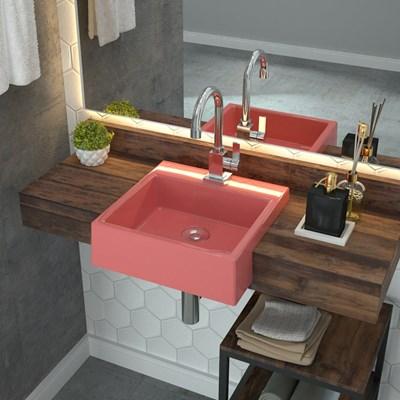Cuba Pia Semi Encaixe para Banheiro Quadrada Kuad 355 C08 Rosa - Mpozenato