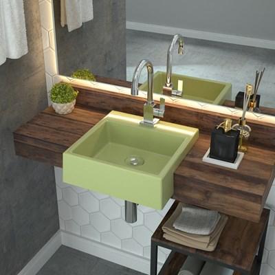 Cuba Pia Semi Encaixe para Banheiro Quadrada Kuad 355 C08 Verde Acqua - Mpozenato