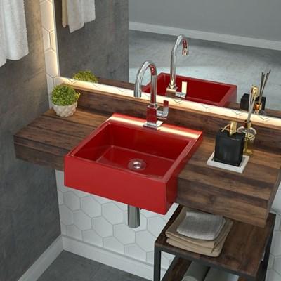 Cuba Pia Semi Encaixe para Banheiro Quadrada Kuad 355 C08 Vermelho - Mpozenato