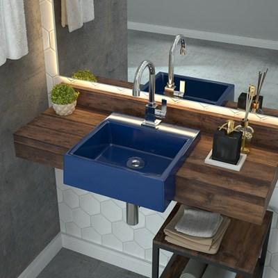 Cuba Pia Semi Encaixe para Banheiro Quadrada Kuad 355 C08Azul Escuro - Mpozenato