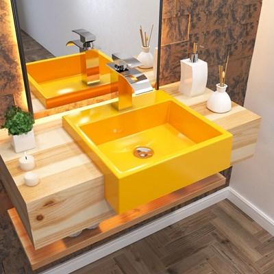 Cuba Pia Semi Encaixe para Banheiro Quadrada Kuad 395 C08 Amarelo - Mpozenato