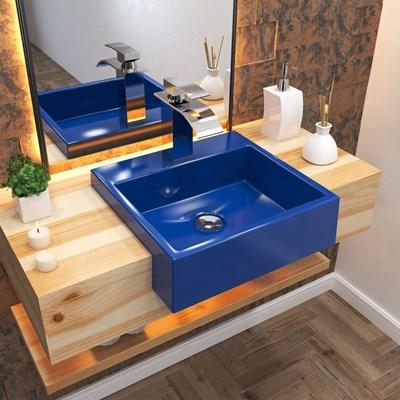 Cuba Pia Semi Encaixe para Banheiro Quadrada Kuad 395 C08 Azul Escuro - Mpozenato