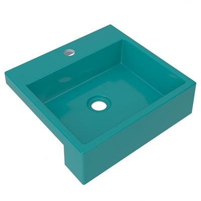 Cuba Pia Semi Encaixe para Banheiro Quadrada Kuad 395 C08 Azul Turquesa - Mpozenato