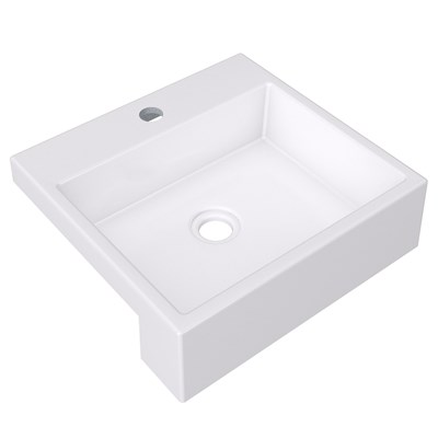 Cuba Pia Semi Encaixe para Banheiro Quadrada Kuad 395 C08 Branco - Mpozenato