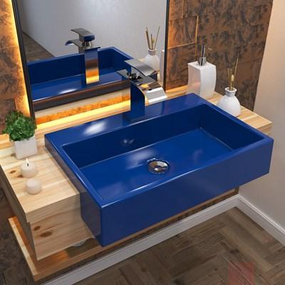 Cuba Pia Semi Encaixe para Banheiro Retangular 54cm XRT C08 Azul Escuro - Mpozenato