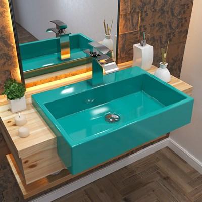 Cuba Pia Semi Encaixe para Banheiro Retangular 54cm XRT C08 Azul Turquesa - Mpozenato