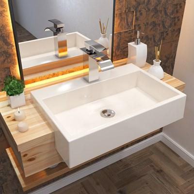 Cuba Pia Semi Encaixe para Banheiro Retangular 54cm XRT C08 Bege - Mpozenato