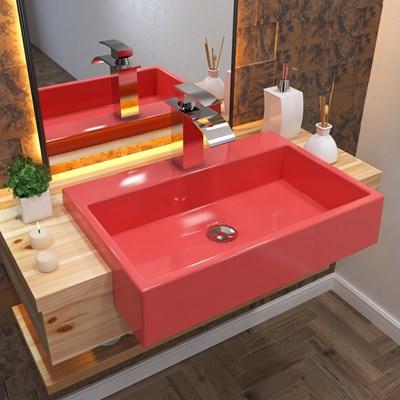 Cuba Pia Semi Encaixe para Banheiro Retangular 54cm XRT C08 Rosa - Mpozenato