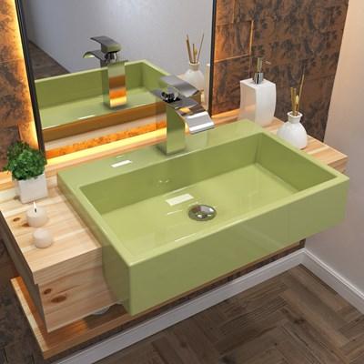 Cuba Pia Semi Encaixe para Banheiro Retangular 54cm XRT C08 Verde Acqua - Mpozenato