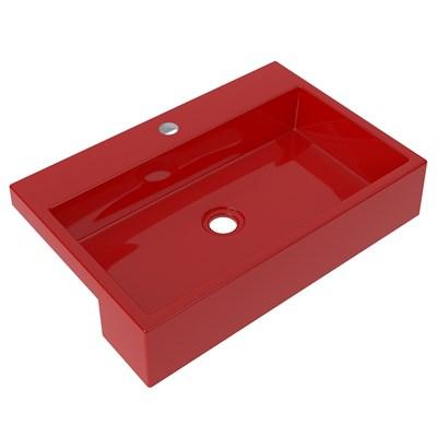 Cuba Pia Semi Encaixe para Banheiro Retangular 54cm XRT C08 Vermelho - Mpozenato