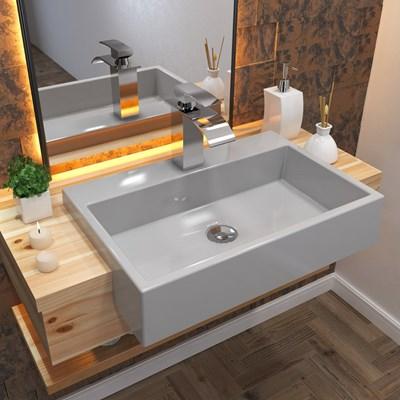 Cuba Pia Semi Encaixe para Banheiro Retangular 54cm XRT0 C08 Cinza - Mpozenato