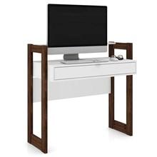 Escrivaninha AZ1007 e Estante Livreiro AZ1006 Branco/Nogal - Tecno Mobili