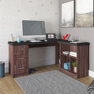 Escrivaninha Home Office 1 Prateleira Mobile Mali Preto/Ipê - Artany
