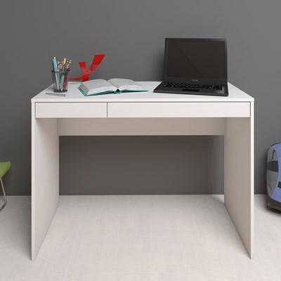 Escrivaninha Mesa para Computador 2 Gavetas Mobile College Branco – Artany
