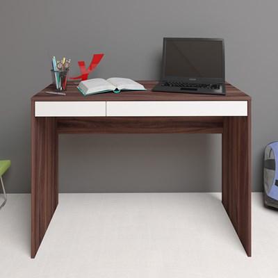 Escrivaninha Mesa para Computador 2 Gavetas Mobile College Ipê/Branco – Artany