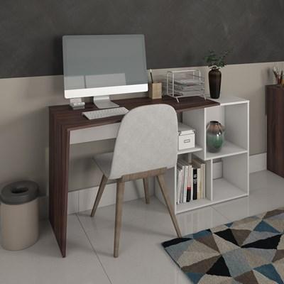 Escrivaninha Mesa para Computador 4 Nichos Mobile Urban Ipê/Branco - Artany
