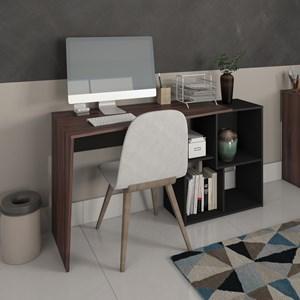 Escrivaninha Mesa para Computador 4 Nichos Mobile Urban Ipê/Preto - Artany
