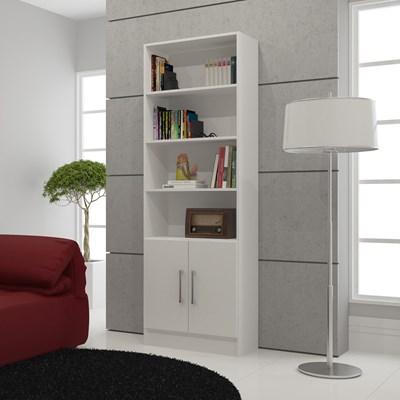 Estante com 02 Portas de Abrir para Sala ou Home Office BL 03 Branco - BRV