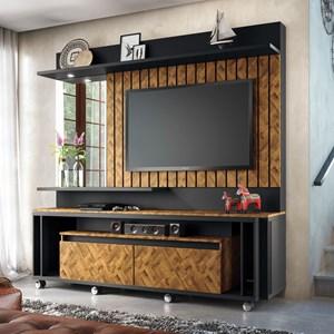 Estante Home Painel para TV até 60 Pol Eclipse Preto/Chevron - HB Móveis