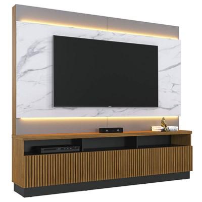 Estante Home Theater com LED para TV até 70 Pol. 3 Portas Marajó Noce Milano/Preto/Calacatta - Colibri
