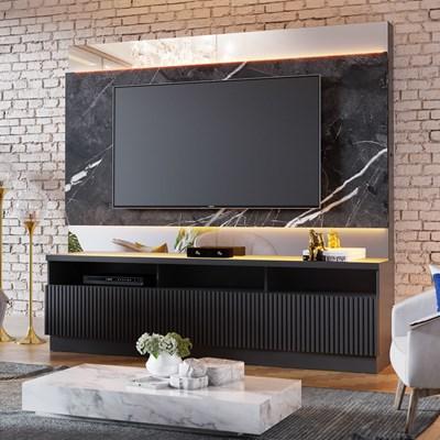 Estante Home Theater com LED para TV até 70 Pol. 3 Portas Marajó Preto Fosco - Colibri