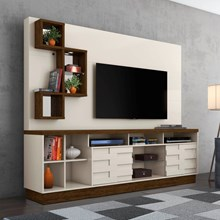 Estante Home Theater com Luminária de Led Heitor Off White/Savana - Madetec