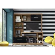 Estante Home Theater E202 com 182,5 cm Nobre com Preto - Dalla Costa