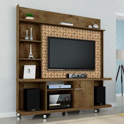 Estante Home Theater Para TV até 47 Pol. Taurus Madeira Rústica/Madeira 3D - Bechara