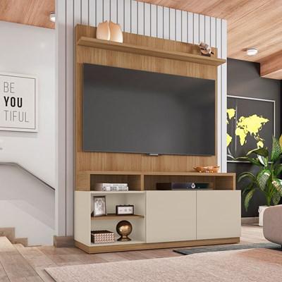 Estante Home Theater Para TV Até 55 Pol. 2 Portas Domi Buriti/Off White - Caemmun