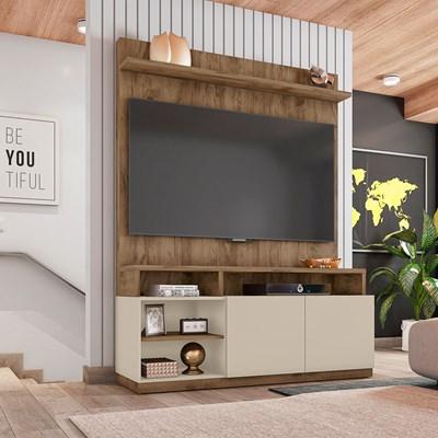 Estante Home Theater Para TV Até 55 Pol. 2 Portas Domi Jatobá/Off White - Caemmun