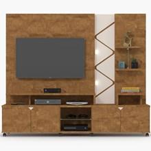 Estante Home Theater Para TV até 55 Pol. Cross Amêndoa/Off White - Lukaliam Móveis