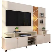 Estante Home Theater Para TV até 55 Pol. Cross Off White/Amêndoa - Lukaliam Móveis