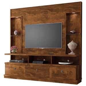 Estante Home Theater Para TV até 55 Pol. Dinamarca Canela - Lukaliam Móveis